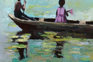 Brother and Sister in a Boat, Sri Lanka - oil on board - 40 x 40 cm - sold
