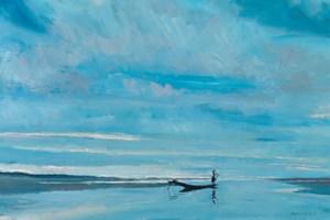 Solitary Fisherman, Inle Lake, Burma - oil on board - 42 x 55 cm - sold