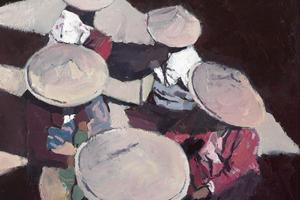 Women in a Market, Ngapali, Burma - Oil on Board - £2450
