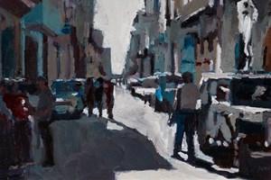 Busy Street Scene, Havana - oil on board - 20 x 40 cm - POA