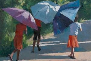 Children with Umbrellas, Sri Lanka - oil on board - 35 x 50 cm - sold