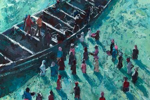 Landing a Big Catch, Gambia- acrylic on board -  80 x 80 cms - sold