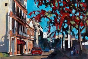 Street Scene with Cigar Factory, Havana - oil on board - 77 x 110 cm - sold