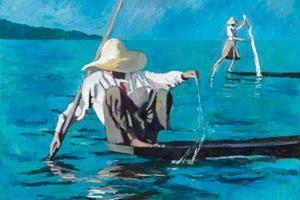Fishemen with Nets, Burma - oil on board - 100 x 100 cm - sold