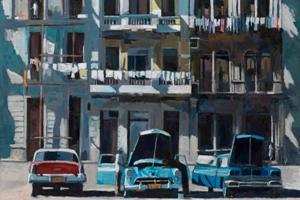 Street Scene with Cars, Havana, Cuba - oil on board - 77 x 110 cm - sold