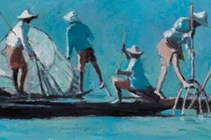 Group of Fishermen, Inle Lake, Burma - oil on board - 20 x 40 cm - sold