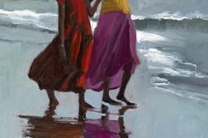 Girls Pointing out to Sea, Kerala - oil on board - 50 x 35 cm - sold