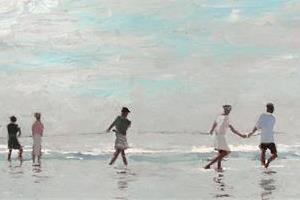 Fishermen near Tangalle, Sri Lanka - Oil on Board - 40 x 80 cm - sold