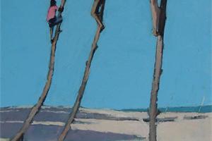 Climbing Trees, Zanzibar - oil on board - 45 x 25 cm - sold