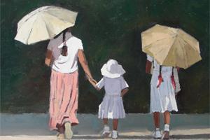 Walking home from School, Sri Lanka - oil on board - 35 x 50 cm - sold