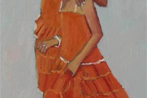 Twin Girls in Orange Dresses, Kerala - oil on board - 40 x 20 cm - sold