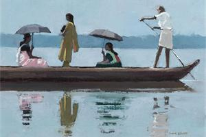 Ferryboat with 4 Figures- oil on board - 25 x 35 cm - sold
