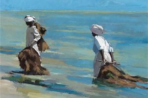 Two Women dragging Seaweed to the Beach, Zanzibar- oil on board - sold
