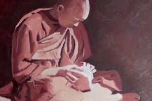 Seated Monk, Burma - oil on board - 50 x 50 cm - POA