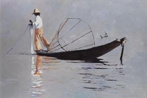 Two Fishermen, Inle Lake, Burma - Oil on Board - 77 x 110 cm - sold