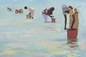Women Collecting Shellfish, Zanzibar - Oil on Board - 35 x 50 cm - Sold