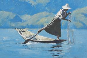 Fisherman, Inle Lake, Burma - Oil on Board - 35 x 50 cm - sold