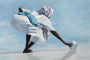 Woman with a Bowl, Zanzibar - Oil on Board - 35 x 50 cm - sold