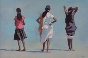 3 Women, Vakara Beach, Kerala - oil on Board - 35 x 50 cm - sold