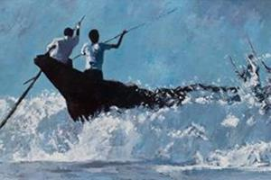 Fishing Boat in Surf, Sri Lanka - Oil on Board - 70 x 184 cm - Sold