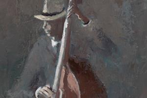 Bass Player, Havana - oil on board - 60 x 30 cm - SOLD