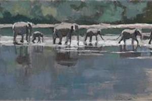 Elephants, Sri Lanka - acrylic on board - 20 x 60 cm - sold