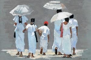 Family Group in White, Sri Lanka - Oil on Board - 35 x 50 cm - SOLD
