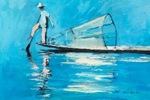 Fisherman with Basket and Paddle, Burma - oil on board - 26 x 37 cm - £1450