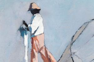 Fisherman with Net, Inle Lake, Burma - oil on board - 26 x 20 cm - £1250