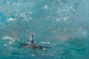 Fisherman on a Raft, Brazil - Oil on Board - 90 x 137 cm - sold