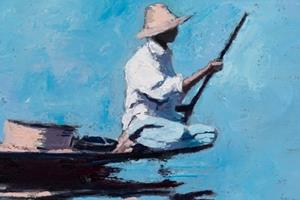 Fisherman with Hat, Inle Lake, Burma - oil on board - 40 x 40 cm - sold