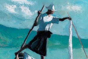 Fisherman with White Net, Inle Lake Burma - oil on board - 50 x 35 cm - £2900