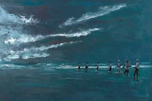 Fishermen Under Stormy Skies, Sri Lanka - oil on board - 77 x 110 cm  - sold