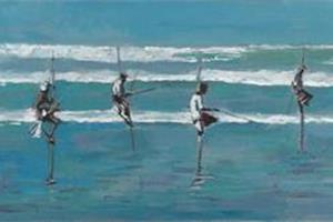 Fishermen, Sri Lanka - acrylic on board - 20 x 60 cm- sold