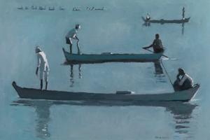 Group of Fishermen, near Mandalay, Burma - oil on board - 35 x 50 cm - £2500