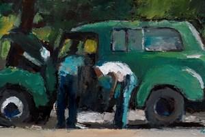 Fixing a Car, Havana - oil on board - 20 x 40 cm - sold