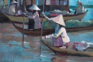 Floating Market, Cambodia - oil on board - 75 x 90 cm - POA