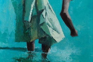 Girl in Green Dress, Zanzibar  - Oil on Board - 90 x 52 cm - sold