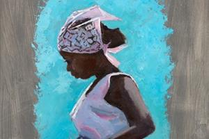 Woman in Pink, Zanzibar - oil on board - 100 x 50 cm - POA