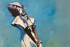 Girl in White Dress, Zanzibar - oil on board - 50 x 35 cm - POA