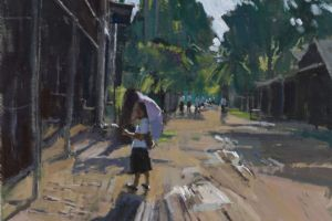 Girl with Parasol, Laos - acrylic on paper - 35 x 50cm - sold