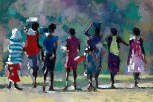 Children Walking Home from the Beach, Mozambique - oil on board - 35 x 50cm - POA