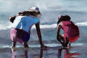 Two Girls on Ipanema Beach, Rio - 40 x 40 - oil on board - sold