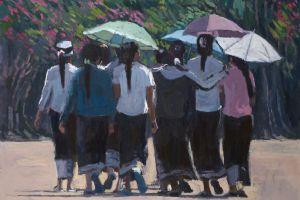 Girls with Parosols, Laos - acrylic on board - 40 x 55 cm - sold