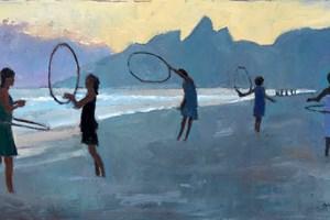 Women with Hoops, Ipanema Beach, Rio - oil on board - 30 x 60 cm - sold