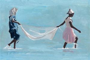 Girls with fishing net, Zanzibar - oil on board - 35 x 50 cm- sold