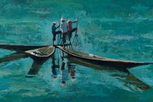 Three Fisherman Working Together, Inle Lake, Burma - oil on board - 46 x 92 cm - sold