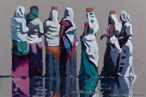Group of Women at the Market, Vanakbara, India - acrylic on board -  35 x 70 cms - POA