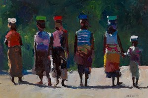 Group Walking Home from the Beach, Mozambique - oil on board - 35 x 50 cm - POA