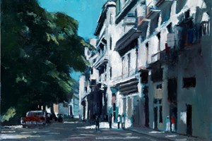 Street Scene with Overhanging Tree, Havana - oil on board - 35 x 50 cm - POA